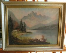 Beautiful Country lake rural Landscape Painting Oil on Canvas signed
