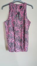 Izabel London Pink and White patterned sleeveless Summer Holiday top Size L