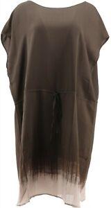 Halston Cap Slv Ombre Printed Dress Green L NEW A275442