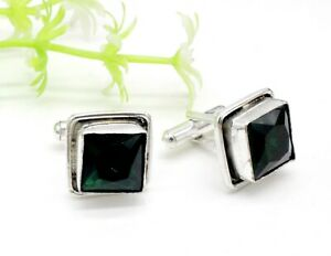 """Handmade 925 Sterling Silver Chrome Diopside Gemstone Jewelry Cuff Links Size-1"""""""