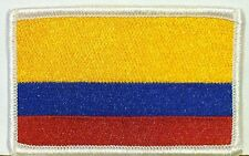 Colombia  Flag Iron On Patch Military Emblem Embroidered White  Border