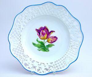 Meissen Durchbruchteller / Zierteller Blumenmalerei frühe Knaufzeit