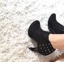Plateaustiefeletten Damen Stiefeletten schwarz Nieten Silber Gr. 38 Pumps sexy