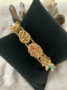 Vintage Goldette NY charm slider with multi colored rhinestones and faux pearl