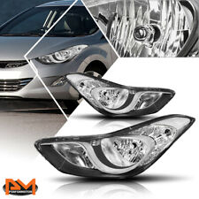 For 11-13 Hyundai Elantra 4-Dr Direct Replacement Headlight/Lamps Black/Clear