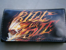 SKULL FLAMES RIDE OR DIE CIGARETTE BLACK ROLLING TOBACCO WALLET POUCH CASE