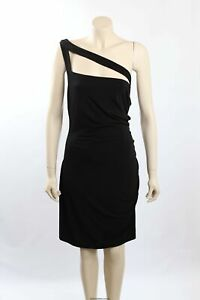 NEW Calvin Klein Size 18 Black Matte Jersey One Shoulder Party Dress -