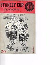 1963-64 Chicago Black Hawks-Red Wings Playoff Program Hawks Win Opener!!