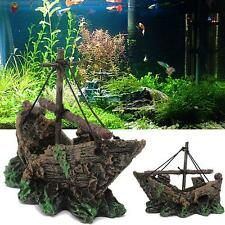 Fish Tank Ornament Wreck Sailing Boat Shipwreck Aquarium Sunk Ship Pirate Ship E