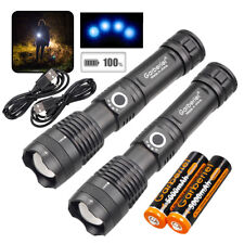 2 x 350000LM XHP50 LED USB Rechargeable 18650 Flashlight Torch +Battery +Charger
