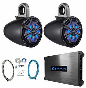 """2) KICKER 8"""" 600w Marine Boat KMTES8 Wakeboard Tower Speakers w/ LED's+Amplifier"""