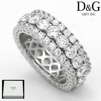 DG Mens 925 Sterling Silver,CZ Iecd-Out Eternity,Rings 7 8 9 10 11 12 13,Box