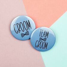 Blue Groom To Be / Team Groom Bow Tie Badge, Blue 45MM Stag Party Badge