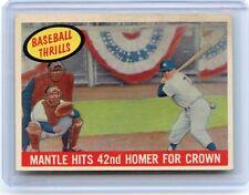 "1959 TOPPS #461 MICKEY MANTLE ""BASEBALL THRILLS"" BASEBALL CARD, NEW YORK YANKEES"