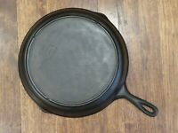 Vintage Lodge #10 SK Cast Iron Skillet Frying Pan with 3-notch Inset Heat Ring