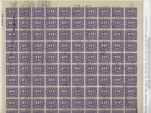 Scott J14 - 1933 Postage Due UL Plate #1 full sheet of 100. Exhibit Quality, VF