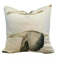 "Arthur Sanderson Fabric Elysian Geese Silver/Chalk 18""x 18"" Cushion Cover"