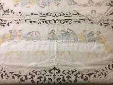 "Madeira Hand Embroidery DaVinci's Last Supper Linen Tablecloth 68""x115"" & 12 nap"