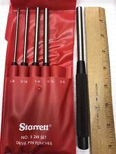 Starrett S248pc 18 38 5 Pc 8 Drive Pin Punch Set In Vinyl Case