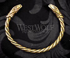 Viking Snake Bracelet/Torc/Torque --- Norse/Medieval/Jewelry/Skyrim/Serpent/Gold