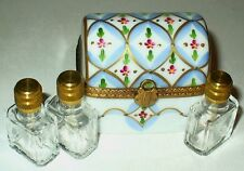 LIMOGES BOX~ DUBARRY ~ FLORAL CHEST & 3  PERFUME BOTTLES ~ FLOWERS ~ PEINT MAIN