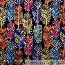 BonEful Fabric FQ Cotton Quilt Blue Orange Yellow Rainbow Indian Print Feather L