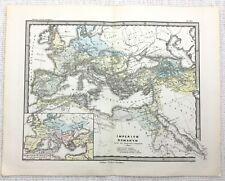 1865 Antique Map of Europe Ancient Imperial Roman Empire LATIN Engraving RARE