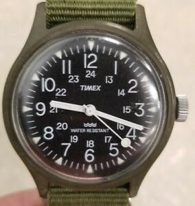 Vintage Timex Military Watch 24 HR MacGyver / Camper Field Dark Green Mechanical