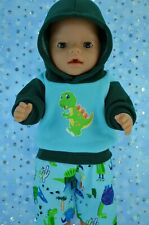 "Play n Wear Boys Dolls Clothes To Fit 17"" Baby Born FLEECY HOODIE~PATTERN PANTS"