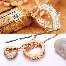 Oro Rosa Colgante Corazón 925 Cadena Plata Ley Collar Mujer Joyería Regalo