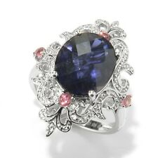 Sterling Silver 4ctw Iolite, Pink Tourmaline & White Zircon Cocktail Ring, Size