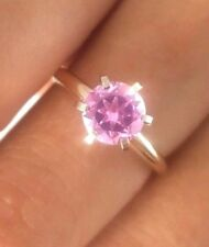 1.70ct Natural Pink Sapphire Solitaire 14K Solid yellow Gold Ring Engagement