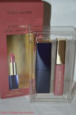 Estee Lauder REBELLIOUS Lipstick Rouge & Mod Poppy Shimmer Color Gloss DUO NIB