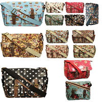 Girls Ladies Oilcloth Saddle Satchel Cross Body Messenger Bag A4 School College