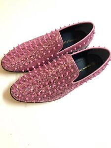 Men's Spike pointy Toe Punk Studded rivet Loafers casual dress slip on shoes