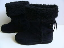 NEW Girls Black Winter Boots Size 4 Midcalf Sonoma Snow Slip On Lined Fashion