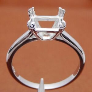 6x8MM EMERALD CUT 925 SILVER RING SOLITAIRE SEMI MOUNT SETTING ENGAGEMENT RING