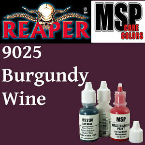 BURGUNDY WINE 9025 - MSP core 15ml 1/2oz paint pot peinture REAPER MINIATURE