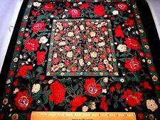 Asian Fabric Panel Hoffman Mandarin Garden Gold Red Green Floral Black Cotton