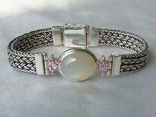 Vintage Sterling Java Bracelet, 17 X 14mm Moonstone, Awesome Clasp, Konder #381