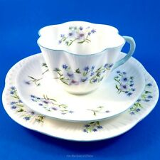 Pretty Blue Rock Shelley Tea Cup, Saucer and Plate Trio Set