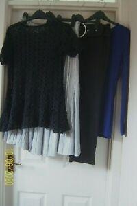 LADIES BUNDLE SZ 12 GREY/WHITE SKIRT BLACK TROUSERS BLUE TOP BLACK TUNIC M & S