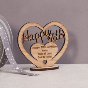 Personalised Wooden Freestanding 16th 18th 21st 30th 40th 50th 60t Birthday Gift