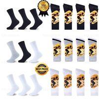 Mens Sports Socks Cotton Crew Trainer Black White Size 6-11 Pack of 3,6,9,12