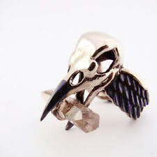 White bronze crow skull ring with smoky quartz stone and oxidized antique color