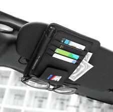 Fit For BMW M Car Sun Visor Black Leather Pen Card Sunglass Clip Storage Holder