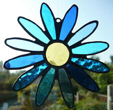 Stained Glass Flower - Handmade - Daisy - Blues - Suncatcher - NEW