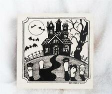 Northwoods rubber stamp Halloween Haunted Mansion Notched Square Grave Stones