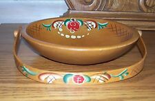 GENUINE WOODCROFTERY Hand Painted Bowl With Handle TOLE? HINDELOOPEN? Folk Art