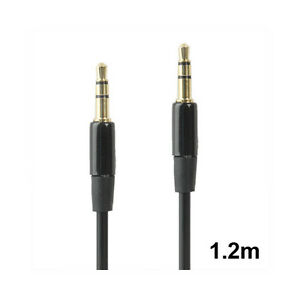 3.5mm Audio Cable - Replacement Headphone Cable - 1.2m - Gold Plated - Black - S